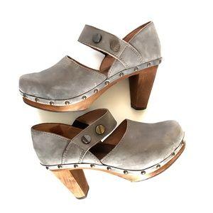 Sanita Gray Leather Clogs Wood Heel